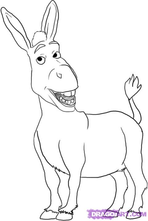 d is for donkey coloring pages - photo #31