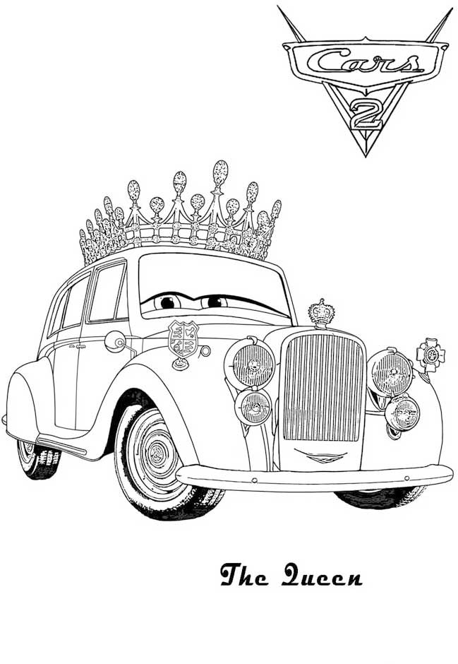 The Queen cars 2 coloring pages