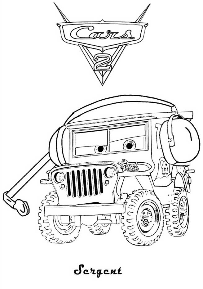 Sergant cars 2 coloring page