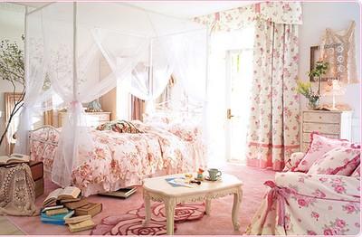 Beautiful Bedroom With Flowers : Romantyczny pokój dla dziewczynki - FD