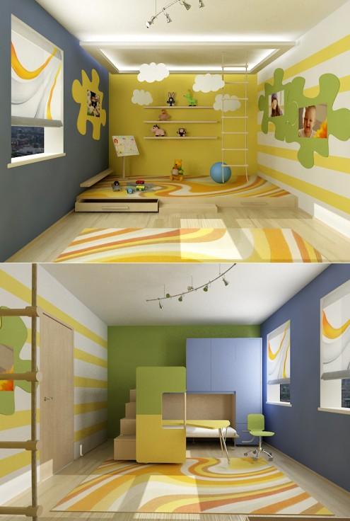 zólte ściany pokoje dla dzieci