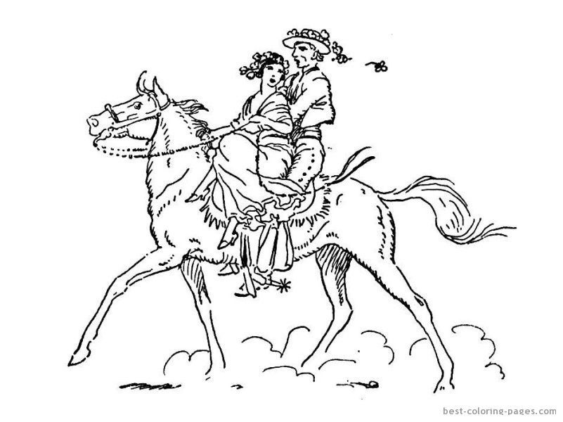 They Are Riding A Horse Coloring Page 1 2ab6dbf30ad6f7ed4b68a2f43a3f687c