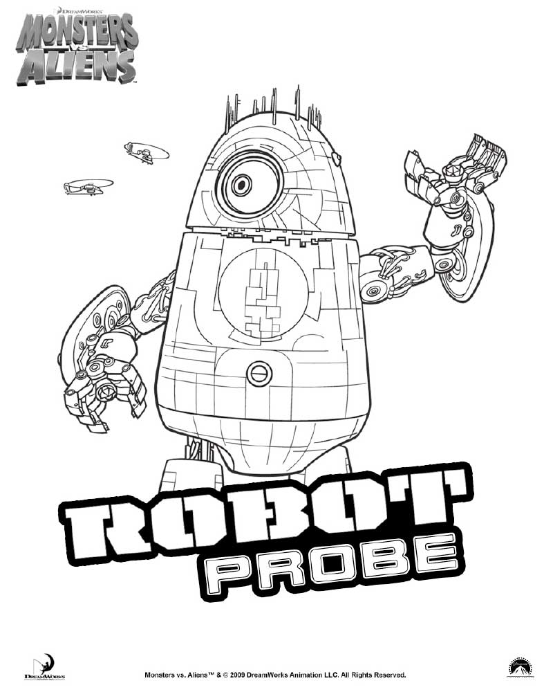 picture of monster vs aliens coloring page